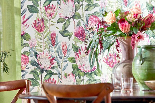 Estampados florales: papel pintado de Sanderson, en Gancedo
