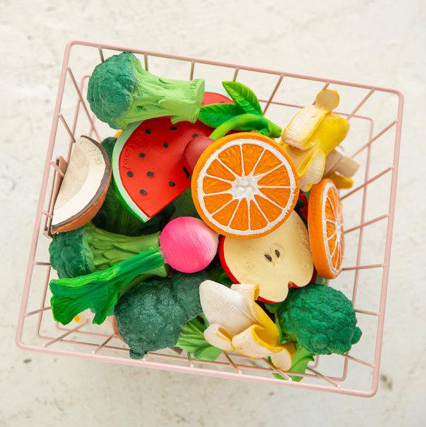 Mordedores para bebés en forma de frutas y verduras