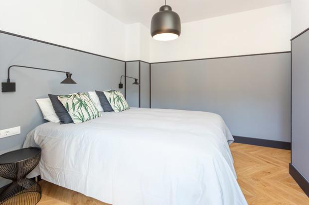 Dormitorio de una reforma de un piso antiguo en Barcelona