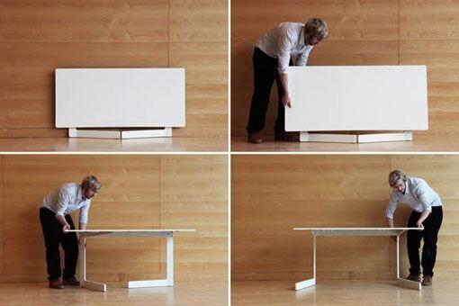 Una mesa plegable que adopta distintas formas