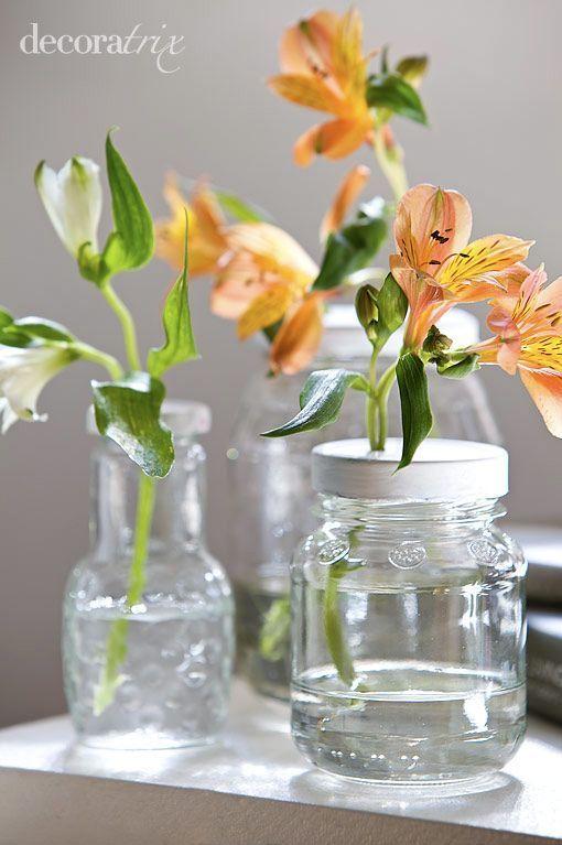 Floreros en tarros de cristal for Tarros de cristal vintage