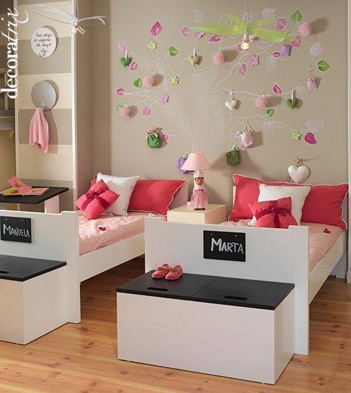 Un Dormitorio Para Ninas Con Un Arbol Encantado - Camas-infantiles-para-nia