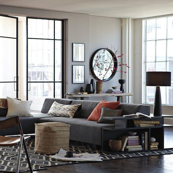 Sofás con chaise longue en salones pequeños