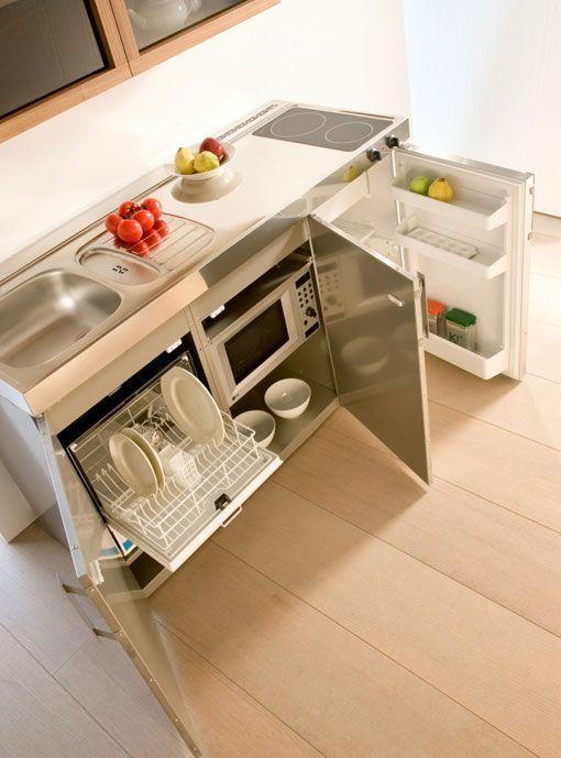 Mini cocinas compactas para espacios reducidos - Cocinas en pequenos espacios ...