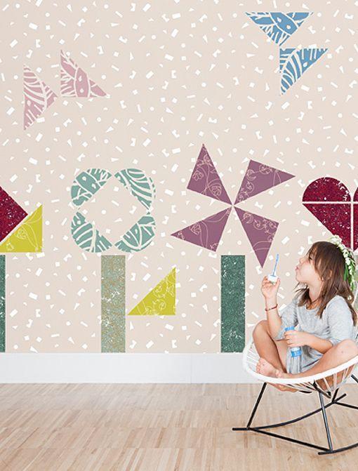 Papeles pintados con dibujos para decorar dormitorios - Papeles pintados tres tintas ...