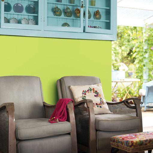Pintar la pared en verde lima y azul turquesa - Decoracion de paredes pintadas ...