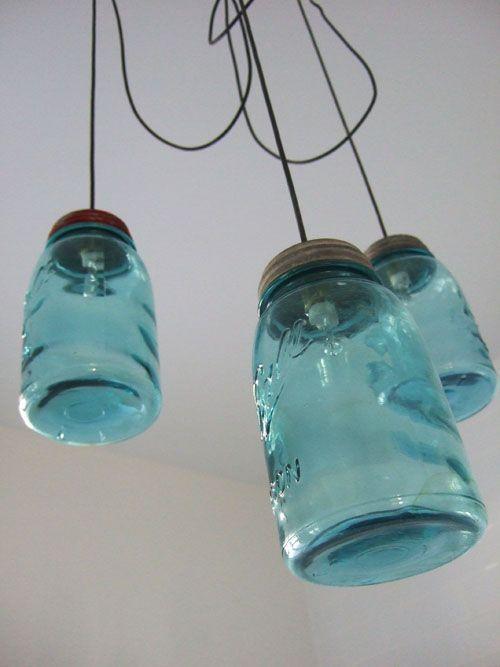 L mparas con tarros de cristal reciclados for Tarros de cristal vintage