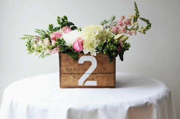 Un centro de mesa primaveral - Mesas con cajas de madera ...