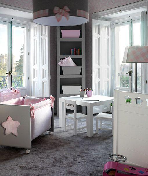 Dormitorio de bebé en rosa y gris
