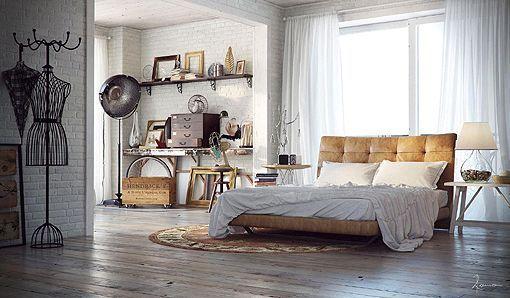 Dormitorios de estilo retro industrial for Dormitorios vintage chic