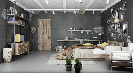 Dormitorios De Estilo Retro Industrial - Habitacion-retro
