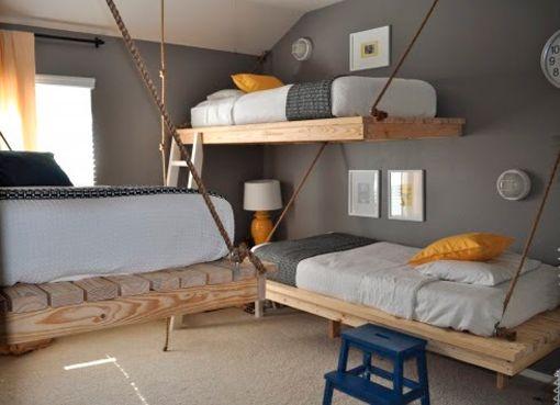 dormitorios compartidos para tres y cuatro hermanos - Literas Para Tres