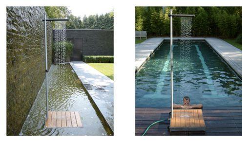 Duchas minimalistas para jardines y terrazas