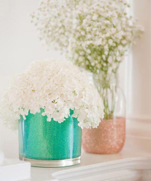 Botes de cristal decorados con purpurina for Jarrones de vidrio decorados