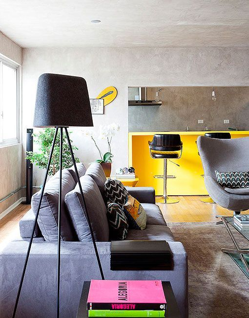 Decorar en gris y amarillo