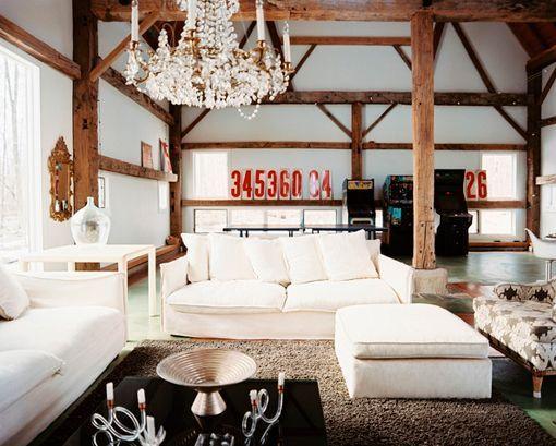 Salones r sticos modernos en blanco y madera - Salones en blanco ...