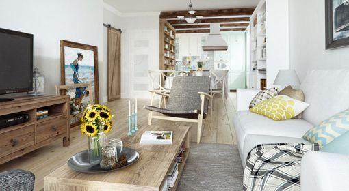 Un piso de 90 m2 con decoración rústica urbana