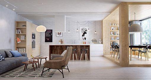 Salón, comedor y cocina integrados en un solo espacio