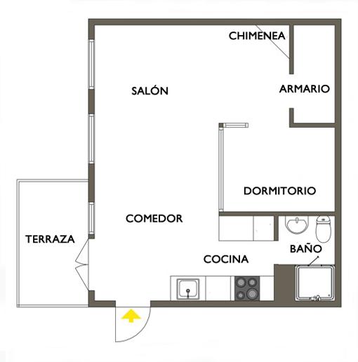 un apartamento de 55 metros cuadrados muy bien aprovechado