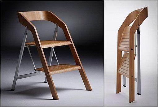 2 en 1: silla plegable y escalera de mano, un diseño de Maarten Olden