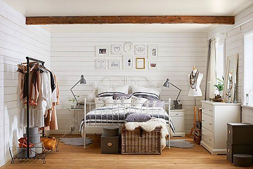 Dormitorio Rustico Decorado En Tonos Blancos Y Azules - Decorar-rustico