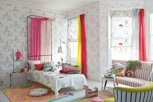 Ideas para decorar habitaciones infantiles telas papeles muebles - Papeles para dormitorios ...