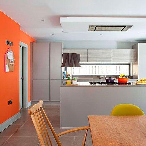 Cocina naranja y gris una decoraci n moderna alegre y for De que color con gris en una cocina