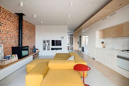Ladrillo Visto En Interiores Apartamento Moderno De 90 M2 - Decoracion-ladrillo-visto
