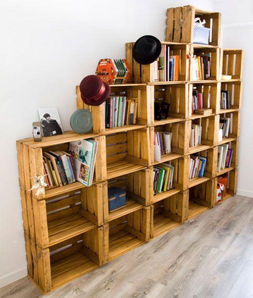 Cajas de fruta recuperadas para organizar tus cosas - Como decorar cajas de madera de fruta ...