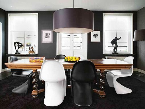 Decorar En Negro 12 Ideas Para Interiores Modernos Y Vanguardistas - Comedores-pintados-modernos