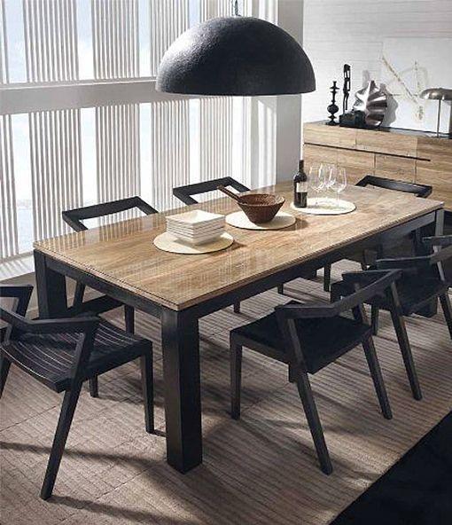 Mesas de comedor de madera natural - Mesas madera y hierro ...