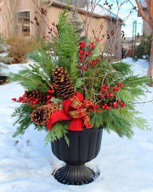 Ideas para decorar el exterior en navidad - Decorar pinas naturales ...