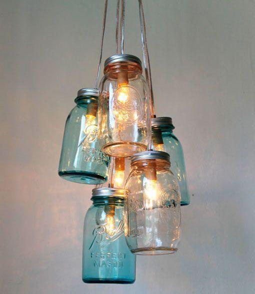 Luminaria con tarros de cristal para alumbrar tu rincn favorito