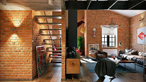 Loft con paredes de ladrillo visto ambientes modernos y for Revestimiento de ladrillo decorativo