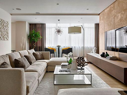 Sal n elegante y c lido decorado en tonos neutros for Sala design moderno
