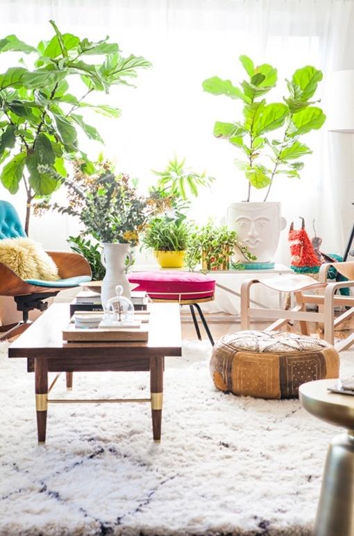 Sal n comedor de estilo vintage en colores alegres y luminosos - Plantas para salon ...
