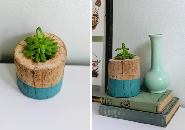 Maceteros hechos con troncos de madera natural - Como hacer maceteros ...