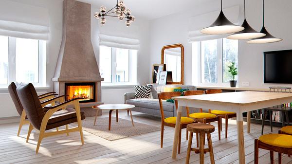 Sal n comedor moderno con cocina integrada for Separacion de muebles cocina comedor