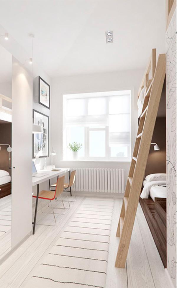 Dormitorio juvenil con litera de tres camas - Habitacion con litera ...