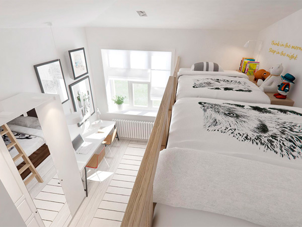 Dormitorio juvenil con litera de tres camas