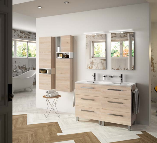 Mueble de baño Fussion Chrome doble natural y columnas Alliance, de Salgar