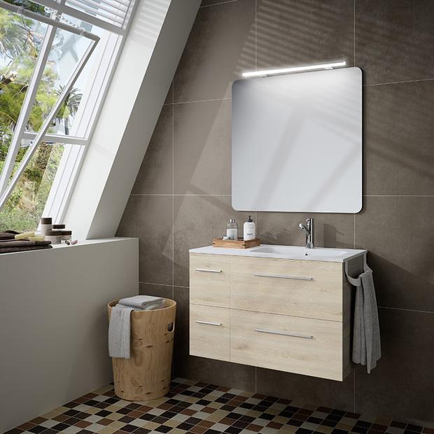 Mueble de baño Fussion Chrome natural, ideal para baños pequeños