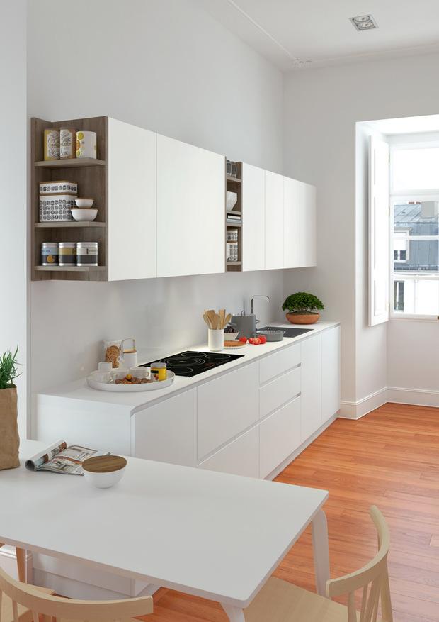 Cocina blanca con detalles de madera - Cocinas en u modernas ...