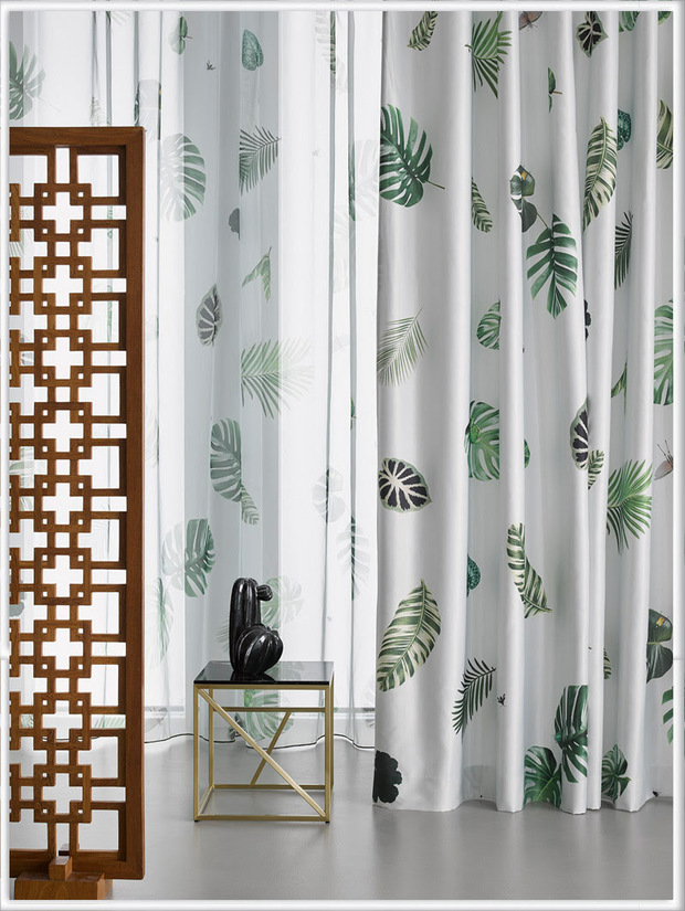 Cortinas estampadas con Monstera o Costilla de Adán