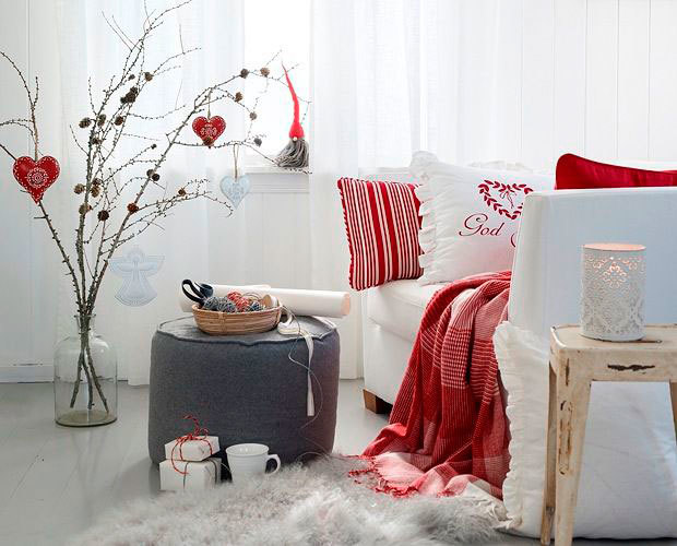 Decoración en blanco y rojo