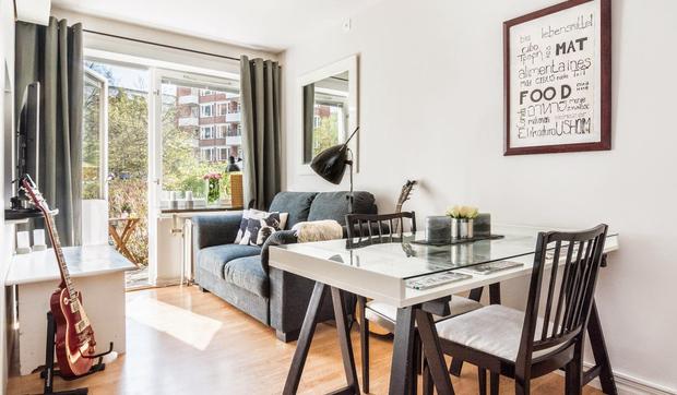 un apartamento de 30 m2 en un bajo soleado