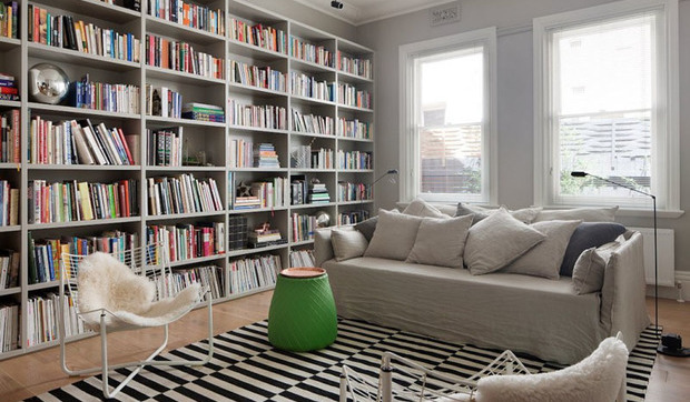Crear una biblioteca en casa for Librerias salon modernas