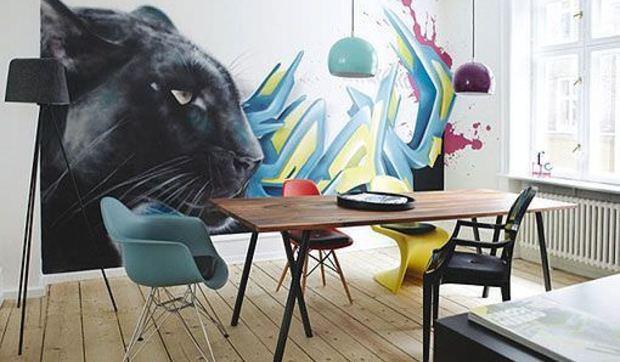 Decorar la pared del comedor con un grafiti