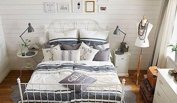 Pintar Dormitorio Matrimonio Rustico : Dormitorio rústico decorado en tonos blancos y azules