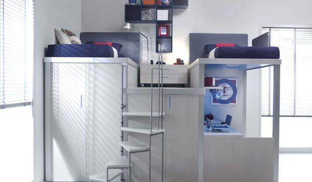 Dormitorios juveniles tipo loft compacto for Habitaciones de dos camas juveniles